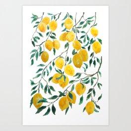 watercoor yellow lemon pattern Art Print