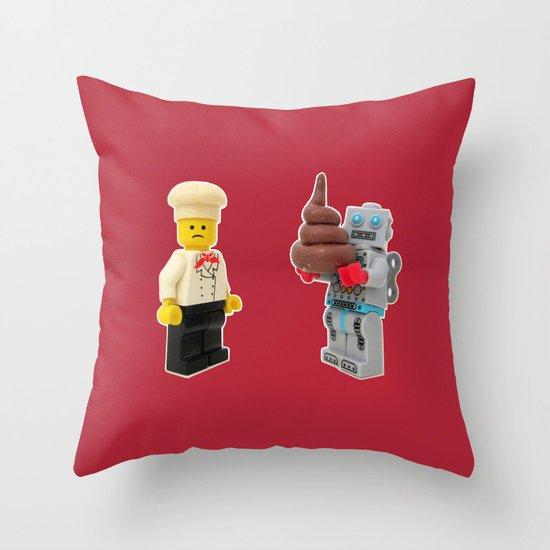 Lego cook & robot misunderstanding Throw Pillow