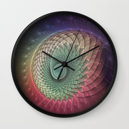 Abstract And Colorful Snail, Fractal Art Wall Clock