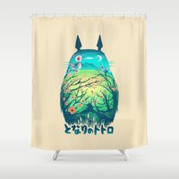 ghibli Shower Curtains featuring He Is My Neighbor by Victor Vercesi