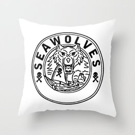 Sea Wolf Pirate Sailing Ship Circle Line Drawing Throw Pillow