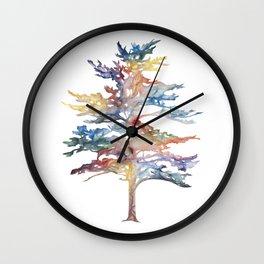 Fir Tree Acrylic Painting Wall Clock