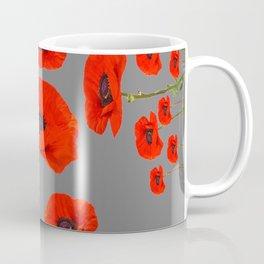 GREY MODERN RED-ORANGE POPPIES  PATTERN DESIGN Coffee Mug