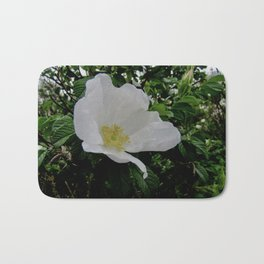 Wild White Rose in Full Bloom Bath Mat