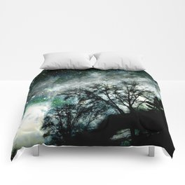 Black Trees Mysterious Blue Green Space Comforters