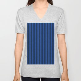 Cobalt Blue Stripes Pattern Unisex V-Neck