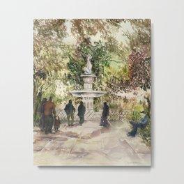 Forsyth Fountain in the Park, Savannah, Georgia Metal Print