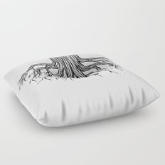 Tree Root Drawing (black on white) Floor Pillow