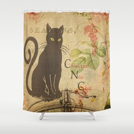 Chat Noir - Black Cat French Collage Shower Curtain