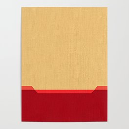 Dark coral red and Beige Line Poster