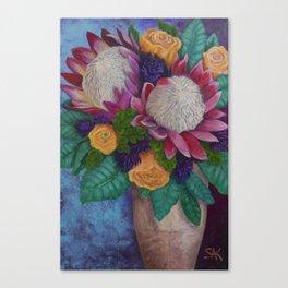 Fantasy Queen Proteas and Orange Roses Canvas Print