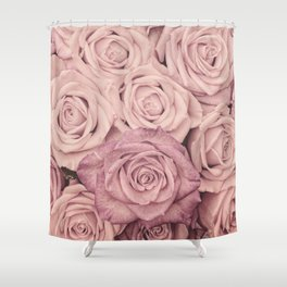 Some People Grumble   Pink Rose Pattern  Roses Shower Curtain