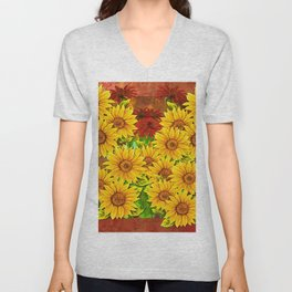 Sunflower Watercolor Pattern (Color) Unisex V-Neck
