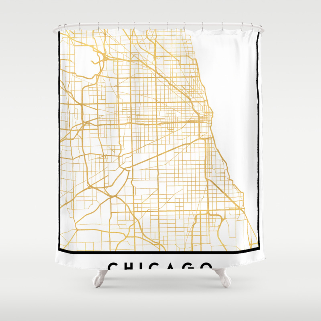 Chicago Shower Curtains Society - Chicago map artwork