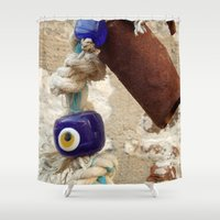 evil eye Shower Curtains featuring evil eye bead by habish
