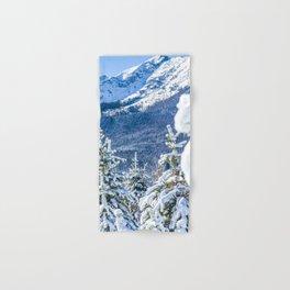Powder Forest // Through the Trees Blue Snow Cap Mountain Backdrop Hand & Bath Towel