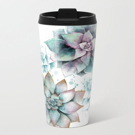 Succulents light Metal Travel Mug