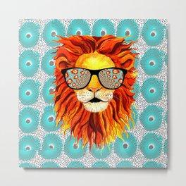 Trippy Lion (square) Metal Print