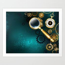 Magnifier in Steampunk Style Art Print