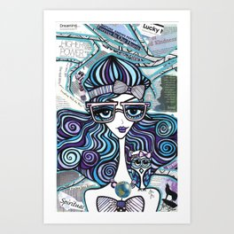 Positive Art and Girls with Owls Art Decor Collection: Isabel Art Print