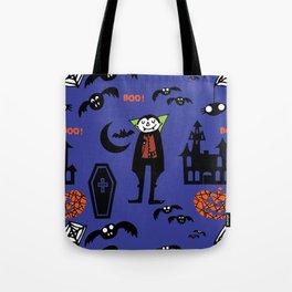 Cute Dracula and friends blue #halloween Tote Bag
