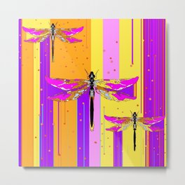 Purple-fuchsia  Dragonflies  Dreamscape Absract Metal Print