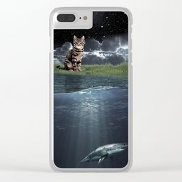 Observing Cat Clear iPhone Case