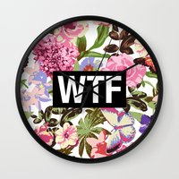 2pac Wall Clocks featuring WTF by Text Guy