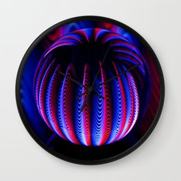 Blue and red in the glass ball. Wall Clock
