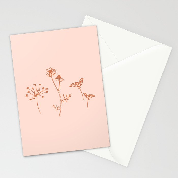 Wildflower Line Art Stationery Cards