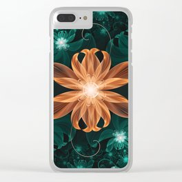Alluring Turquoise and Orange Tiger Lily Flower Clear iPhone Case