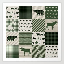 Camping hunter green plaid quilt cheater quilt baby nursery cute pattern bear moose cabin life Art Print