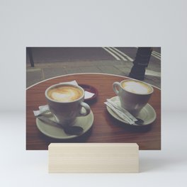 Parisian Coffee Date, Lattes for Two Mini Art Print