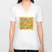 square V-neck T-shirts featuring square by metaplumas
