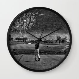 Broken Glass Sky - Black and White Version Wall Clock