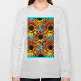 GOLDEN  ART DECO SUNFLOWERS TURQUOISE ART Long Sleeve T-shirt