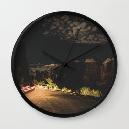 Mountain Road at Night Wall Clock