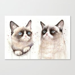 Grumpy Watercolor Cats Canvas Print