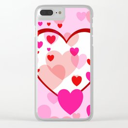 Flying Hearts pink red white Clear iPhone Case