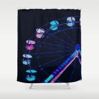 ferris wheel Shower Curtains featuring Ferris Wheel Pink Blue Aqua by WhimsyRomance&Fun