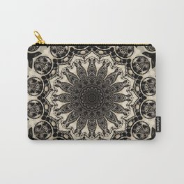 Neutral Abstract Black Ink Bohemian Mandala Carry-All Pouch