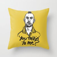taxi driver Throw Pillows featuring Taxi Driver by Dave Flanagan