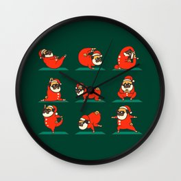 Santa Pug Yoga Wall Clock