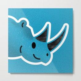 Happy Blue Rhino Metal Print