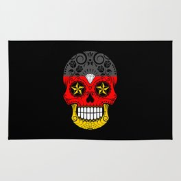 Sugar Skull with Roses and Flag of Germany Rug