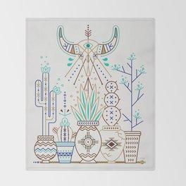 Santa Fe Garden – Turquoise & Brown Throw Blanket