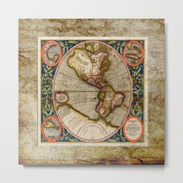 Western Hemisphere Michael Mercator America Metal Print