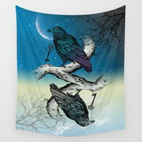 key Wall Tapestries featuring Raven's Key Night+Day by Rachel Caldwell