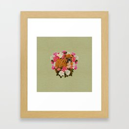 English Bulldog Puppy with flowers Framed Art Print