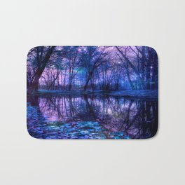Enchanted Forest Lake Purple Blue Bath Mat